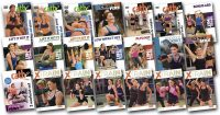 Image of all the video covers for Cathe's October 0217 Workout and exercise Rotation