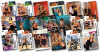 image of all of the video covers for the workouts uses in Cathe Friedrich's March 2018 workout rotation