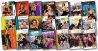 image of video covers of the videos used in Cathe's April 2018 Workout Rotation